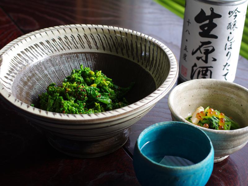 菜の花のマスタード和え:鳴門鯛のおつまみレシピ